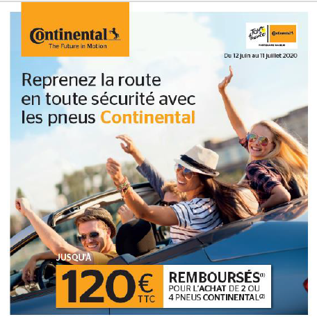 Jusqu'à 120 € remboursés pour l'achat de pneus Continental !