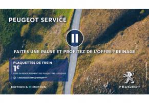 OFFRE PEUGEOT SERVICE : PLAQUETTES DE FREIN À 1€*