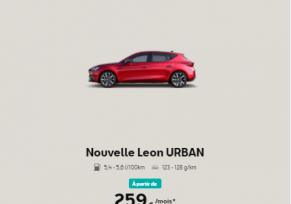 NOUVELLE SEAT LEON URBAN A PARTIR DE 249€/ MOIS*