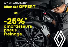 Bilan été OFFERT et -25%* Amortisseurs Freinage Pneus dans le réseau Renault Occitanie
