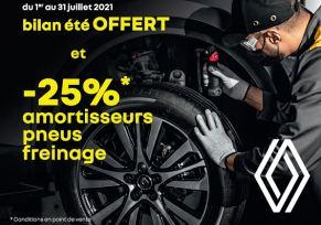 Bilan été OFFERT et -25%* Amortisseurs Freinage Pneus dans le réseau Renault!