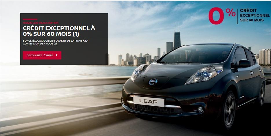 Nissan Leaf Black Edition Crédit à 0% sur 60 mois