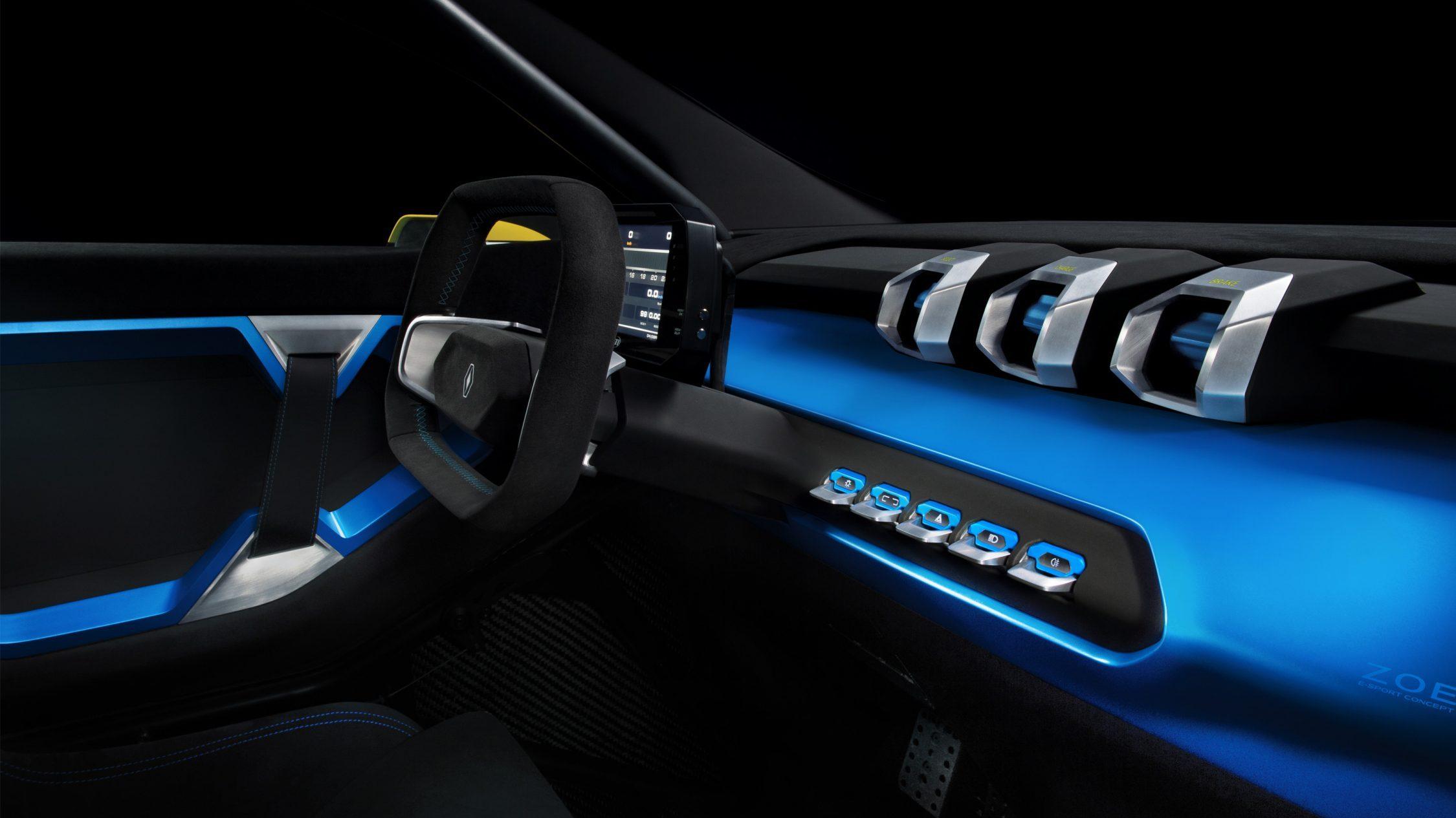 Le tableau de bord sport et futuriste de la Renault ZOE e-Sport Concept
