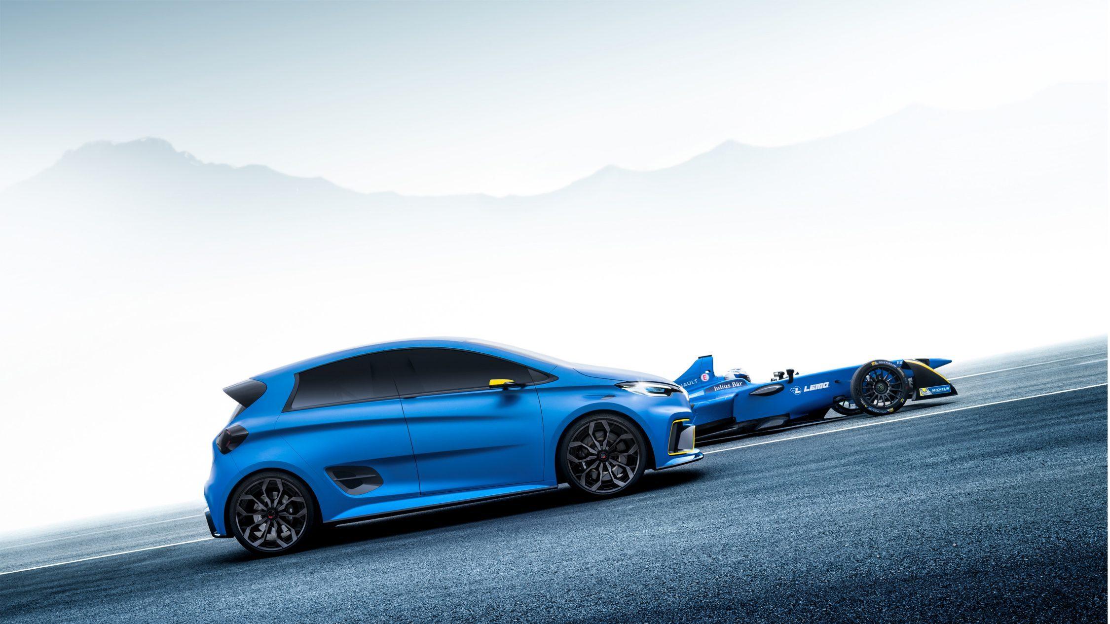 Renault ZOE e-Sport Concept carrosserie en carbone Bleu Satiné