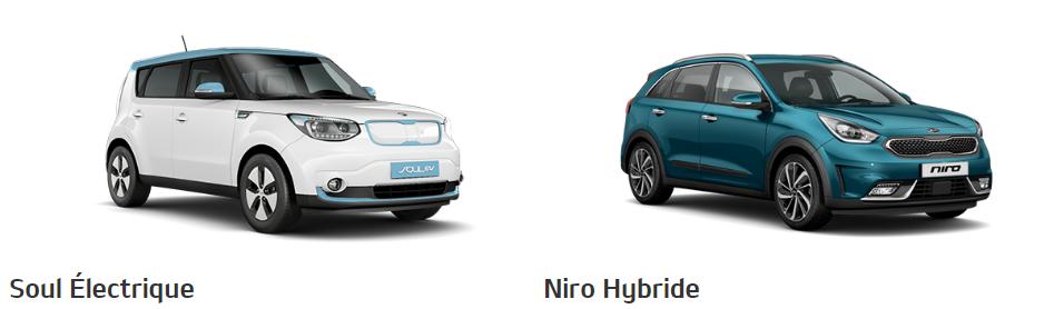 KIa Soul Eletrique et Kia Niro Hybride