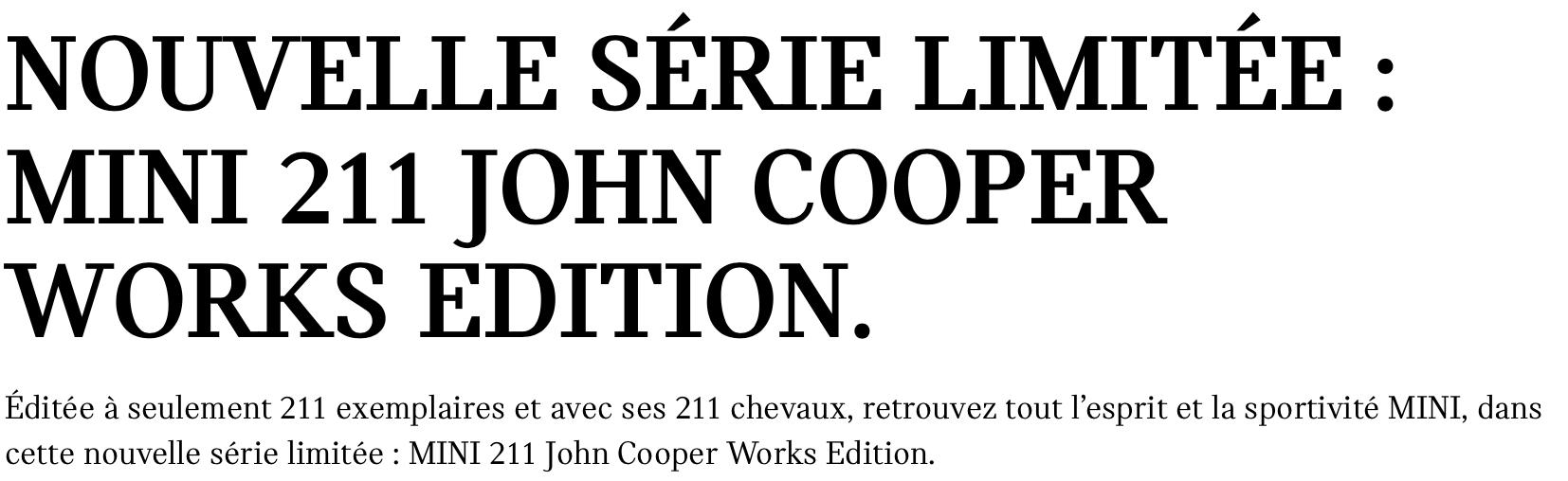 MINI Cooper S 211 John Cooper Works Edition, 211 en France! 1 à Lescar!