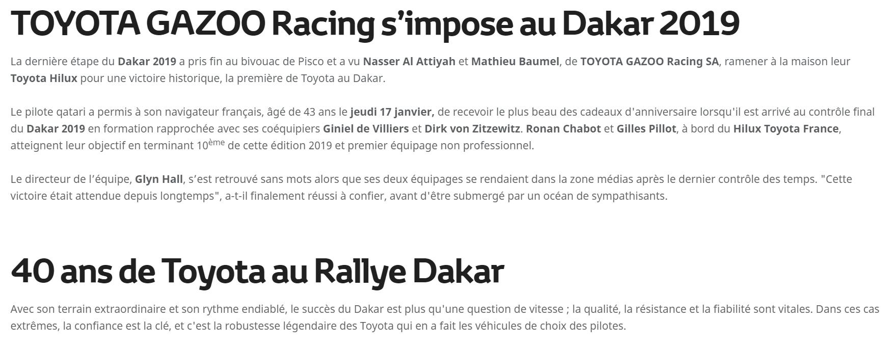 toyota gazoo racing au rallye Dakar 2019
