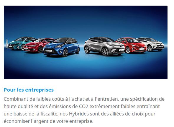 Voiture hybride Toyota pour entreprises