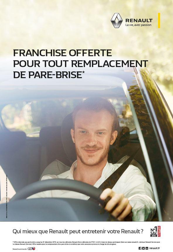 Renault : Franchise Offerte pour tout remplacement Pare-Brise