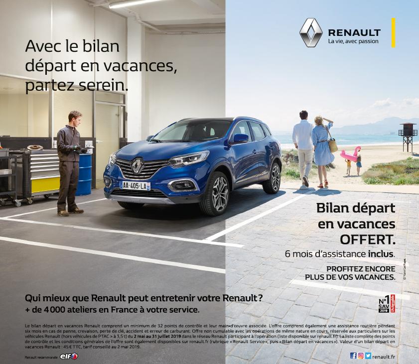 Profitez du bilan départ en vacances Renault dans vos concessions Edenauto