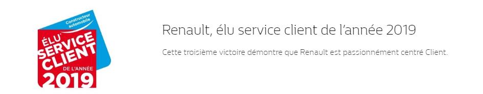 Renault élu service client de l'année 2019