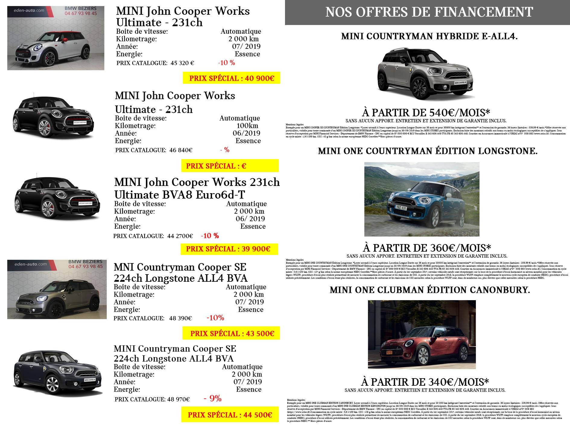 Les offres Mini à découvrir en concession Mini edenauto