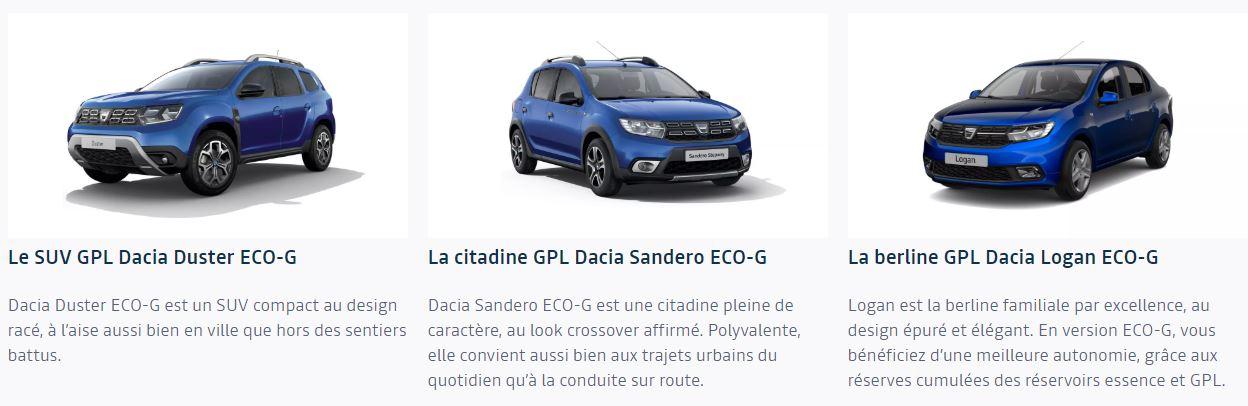 Toute la gamme Dacia : Duster, Sandero, Logan en bi-carburation essence et GPL