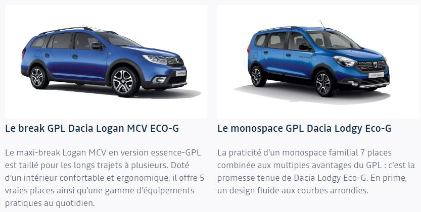 Dacia Logan MCV GPL et monospace Dacia Lodgy en caburation essence et GPL