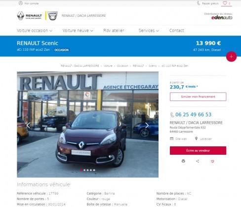 Le Garage ETCHEGARAY Agent RENAULT sur LARRESSORE choisi le portail Edenauto pour doper son commerce de véhicule d'occasion