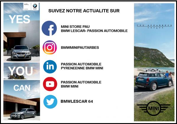 Suivez nous dès aujourd'hui sur nos réseaux sociaux PAU et TARBES  BMW / MINI