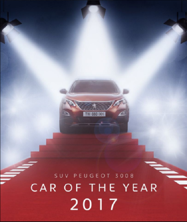 """Le nouveau SUV PEUGEOT 3008 """"Car of the Year 2017"""""""