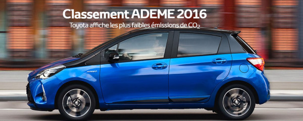 Classement ADEME 2016 Toyota affiche les plus faibles émissions de CO2. Gamme Toyota Hybride à découvrir dans le réseau edenauto