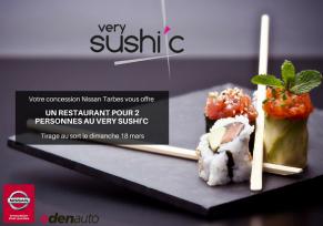 Jeu concours sur Facebook Nissan Tarbes by edenauto : Gagnez un dîner pour 2 au restaurant Tarbes VerySushic !