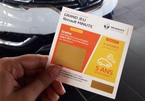 Un jeu à gratter Renault Minute pour réduire sa facture